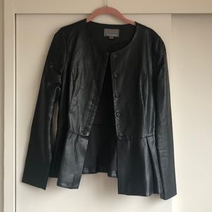 Peplum leather jacket (faux leather) size Small